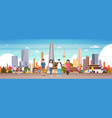 group of korean people over seoul city background vector image vector image