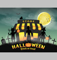 halloween kids in front store on graveyard vector image