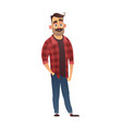 happy man hipster in cartoon style vector image vector image