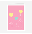 Heart flowers dash line Love greeting card Flat vector image vector image