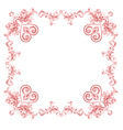 Hearts and ornaments vintage frame vector image