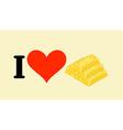 I love gold Heart and bullion Logo for gold rush vector image
