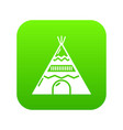 indian tent icon green vector image