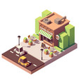 isometric coffee shop vector image vector image