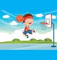 kid playing basketball vector image vector image