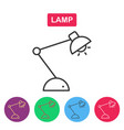 lamp line icon on white background vector image vector image