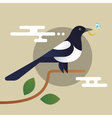 magpie holding the diamond vector image vector image