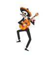 male skeleton in mexican national costume vector image vector image