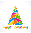 merry Christmas tree design with triangle design vector image