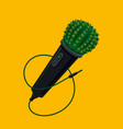 microphone with cactus life music party live vector image vector image