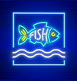 neon fish silhouette vector image vector image