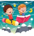 of school children flying vector image vector image
