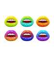 open woman mouth with color lips vector image