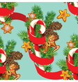 Seamless christmas pattern with xmas gingerbread vector image