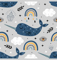 seamless pattern with blue narwhal rainbow vector image vector image