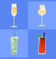 set alcohol drinks fizzy champagne glass of wine vector image vector image