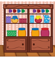 shelves in kitchen with food and utensils vector image vector image