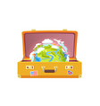 suitcase with stickers globe vector image
