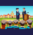 university graduate ceremony teacher congats vector image