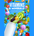 vegetables vitamins and minerals plastic bottle vector image vector image