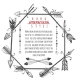 Vintage arrows and feathers frame vector image vector image