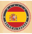 Vintage label cards of Spain flag vector image