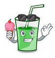 with ice cream green smoothie character cartoon vector image