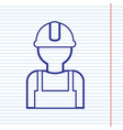 worker sign navy line icon on notebook vector image vector image