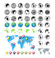 world maps on globes icons earth global map vector image vector image