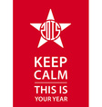 Keep calm poster with star and new year date vector image