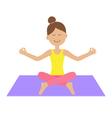 Cute cartoon woman character sitting in lotus pose vector image
