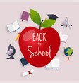 back to school with apple and books on the vector image