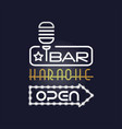 bar karaoke retro neon sign vintage bright vector image vector image