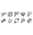 barrette icons set outline style vector image vector image