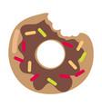 bitten donut logo isolated doughnut sticker vector image vector image