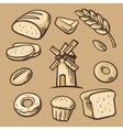 Bread grain wheat donut cake mill and Cooking vector image vector image