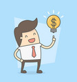 businessman with idea to make money vector image vector image