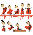 cartoon count dracula wearing red cape set vector image vector image