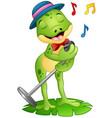 cartoon frog singing on a leaf vector image