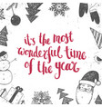 christmas new year lettering vector image vector image