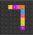 colorful brick block number seven flat design vector image vector image