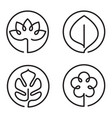 continuous line art logo set of flower leaf lotus vector image vector image