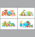 Doll and teddy bear collection vector image