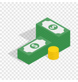 dollars and coins isometric icon vector image vector image