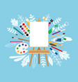 easel for painting workshop vector image vector image
