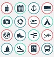 exploration icons set with bank card tent sail vector image
