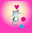 funny kitten in love with a heart vector image vector image