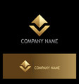 gold arrow up shape company logo vector image vector image