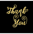 Golden glitter words Thank You on black background vector image