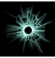 Green Broken Glass Window with Bullet Hole vector image vector image